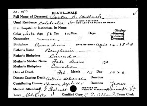 Henry Bullock Death Record